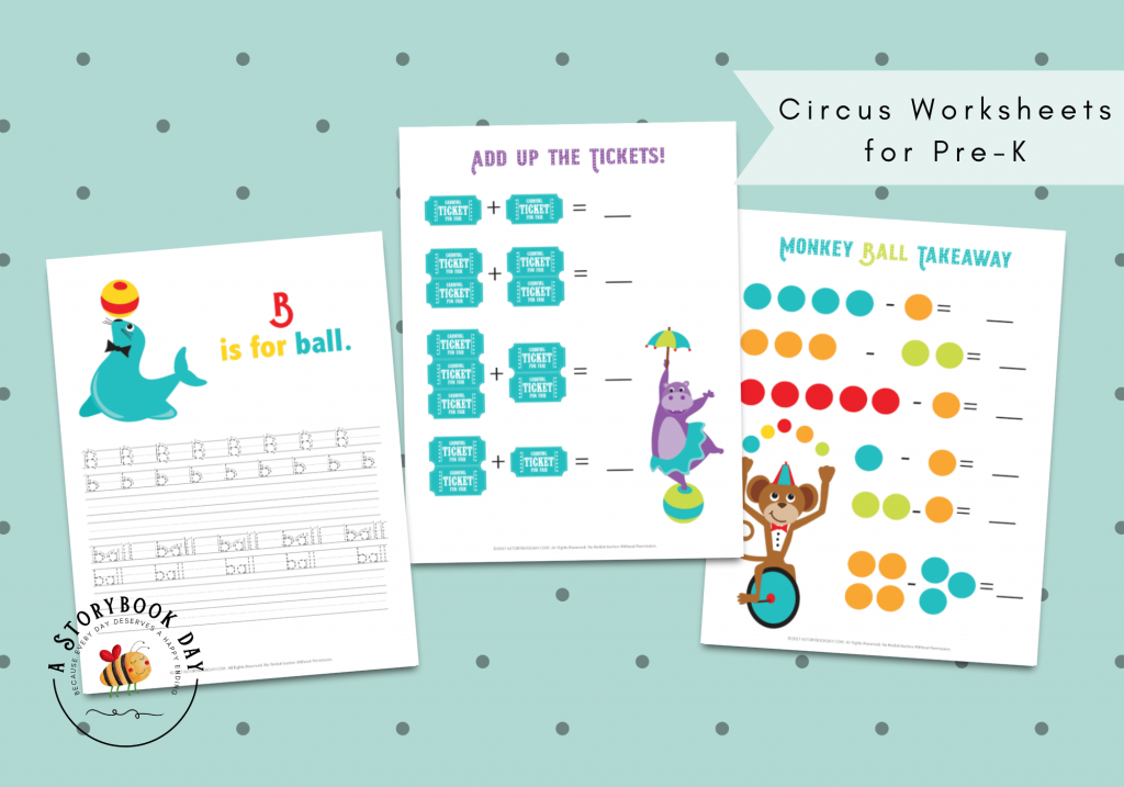 Circus Worksheets for Pre-K @ aStorybookDay.com