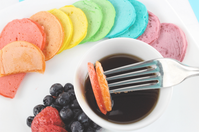 Mini Rainbow Pancakes + Fun Printable Rainbow Activity for Kids