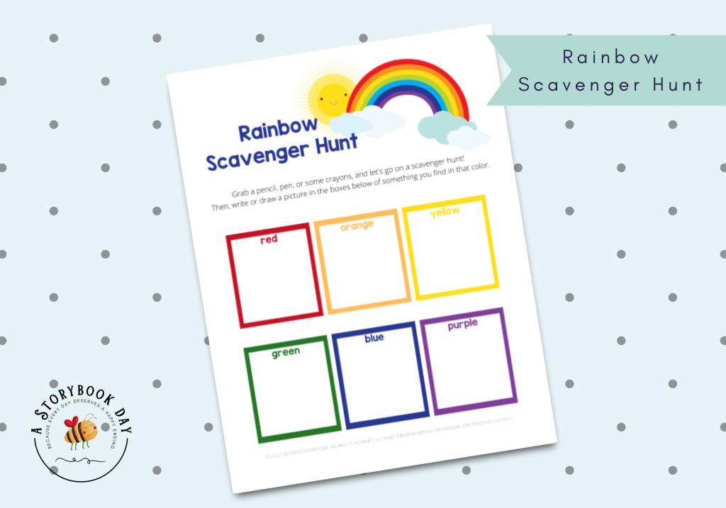 Free Printable Rainbow Scavenger Hunt @ aStorybookday.com