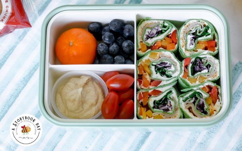 Rainbow Veggie Pinwheels Lunch Box @ aStorybookDay.com