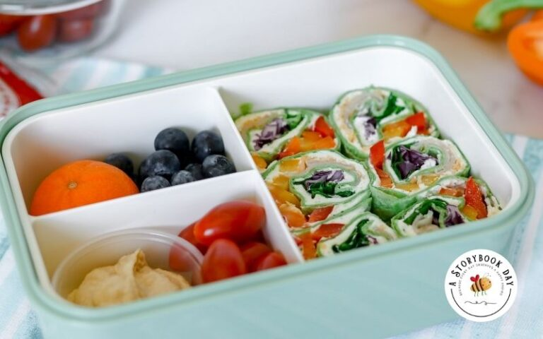 Fun and Colorful Rainbow Tortilla Pinwheels Lunch Box for Kids