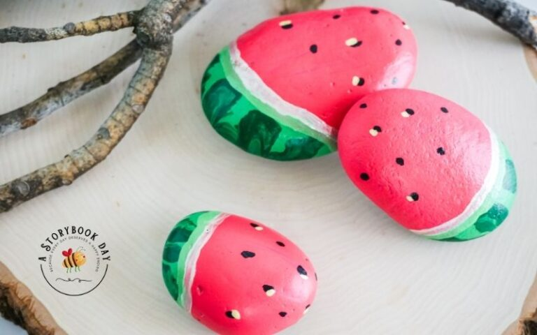 Watermelon Painted Rocks are a Fun Craft for Kids!