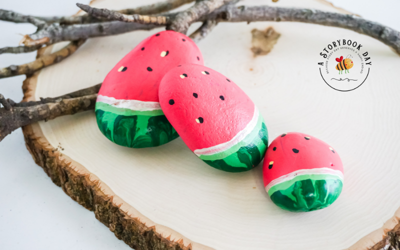 Watermelon Painted Rocks - A Fun Summer Craft for Kids! @ aStorybookDay.com