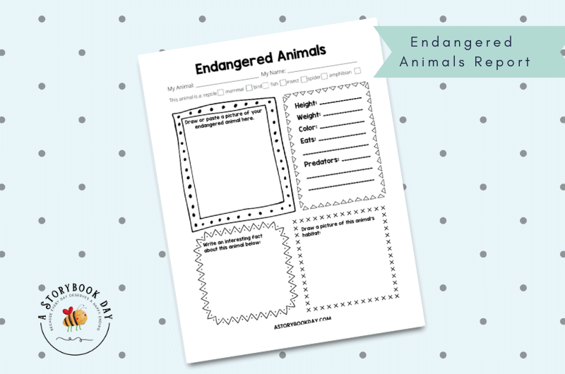 Endangered Animals Report Template @ aStorybookDay.com