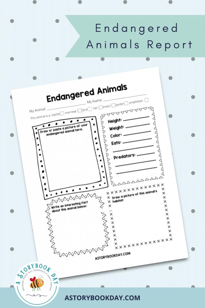Endangered Animals Report Template @ aStorybookDay.com