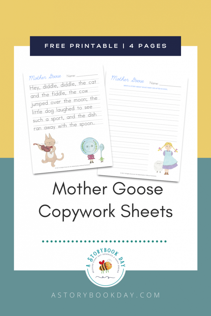 Free Printable Mother Goose Copywork Sheets @ aStorybookDay.com